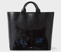 Black Leather 'Cat' Tote Bag