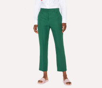 Slim-Fit Dark Green Linen Trousers