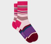 Pink Block-Stripe Socks
