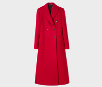 Red Wool-Blend Double-Breasted Long Coat