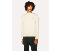 Cream Organic-Cotton Zebra Logo Sweatshirt
