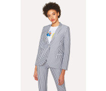 Grey And White Striped Cotton Blazer With 'Ice Lolly' Lining