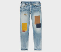 Antique-Wash Patched Red Ear Jeans