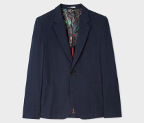 Mid-Fit Navy Flecked Cotton-Blend Two-Button Blazer