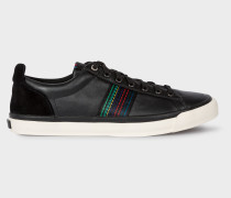 Black 'Seppo' Leather Trainers With 'Cycle Stripe' Stitching