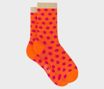 Orange Fluffy Polka Dot Socks