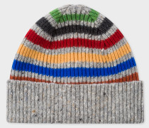 Grey Donegal Stripe Wool Beanie Hat