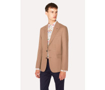 Tailored-Fit Tan Camel Wool Blazer