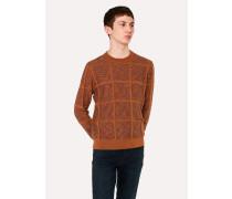 Reversible Rust Textured Check Merino-Cotton Sweater
