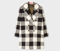 Black And Cream Check Cotton-Blend Cocoon Coat