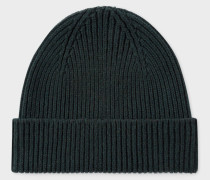 Dark Green Cashmere-Blend Beanie Hat
