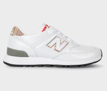 New Balance + -  White Leather 576 Trainers