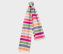 Multi-Coloured Brush Stripe Silk-Blend Scarf
