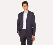 Mid-Fit Navy Check Wool-Blend Blazer