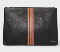 Black Leather Signature Stripe Document Pouch