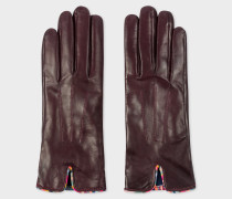 Burgundy Leather Gloves With 'Swirl' Piping