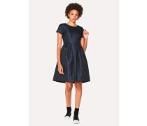 Navy Polka Dot Jacquard Shift Dress