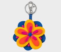 Multi-Coloured Flower Leather Keyring