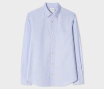 Tailored-Fit Sky Blue 'Artist Stripe' Detail Button-Down Oxford Shirt