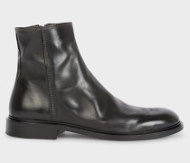 Black Leather 'Billy' Zip Boots