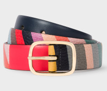 Striped Leather Belt With 'Swirl' Print