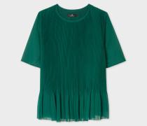 Dark Green Pleated Peplum Top