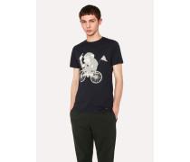 Slim-Fit Navy 'Cycling Monkey' Print T-Shirt