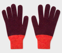 Burgundy Cable Knit Wool Gloves