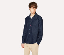 Tailored-Fit Denim Shirt With Photo Button Detail
