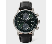 Dark Green And Stainless Steel 'Block' Chronograph Watch