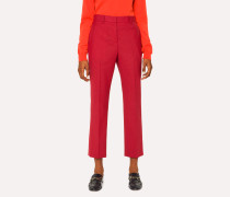 Slim-Fit Red Houndstooth Wool Trousers