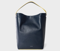 Navy Leather Hobo Bag With Floral Appliqué