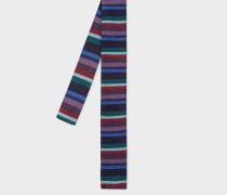 Navy Stripe Knitted Silk Tie