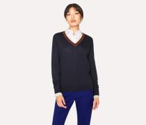 Dark Navy 'Artist Stripe' V-Neck Wool Sweater