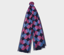 Navy Fil Coupé Polka Dot Scarf