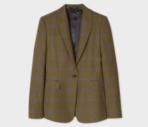 Slim-Fit Khaki Windowpane Check One-Button Wool Blazer