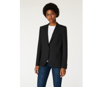 Black Wool-Hopsack Blazer With 'Enso Floral' Lining