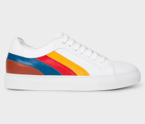 White Leather 'Basso' Trainers With Multi-Coloured Panels