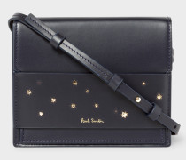 Navy 'Gold Star' Leather Cross-Body Bag