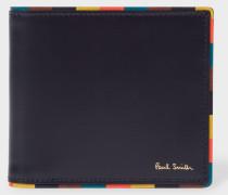 Navy 'Bright Stripe' Edge Leather Billfold Wallet