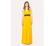 Canary Yellow V-Neck Maxi Dress With Detachable Belt