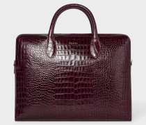 Burgundy 'Bright Stripe' Mock-Croc Leather Business Folio