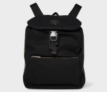 Black Canvas Flap Backpack