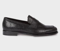 Black Lizard-Effect Leather 'Wolf' Loafers