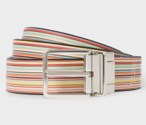 Signature Stripe And Black Cut-To-Fit Reversible Leather Belt