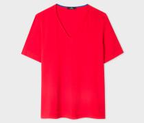 Red Silk-Blend V-Neck Top