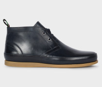 Dark Navy Leather 'Cleon' Boots
