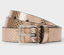Gold Metallic Snake-Effect Leather Belt