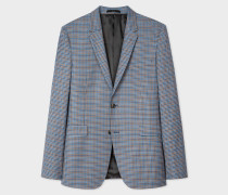Slim-Fit Two-Tone Navy And Brown Check Wool Blazer