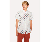 Tailored-Fit White 'Scribble Spot' Short-Sleeve Cotton Shirt